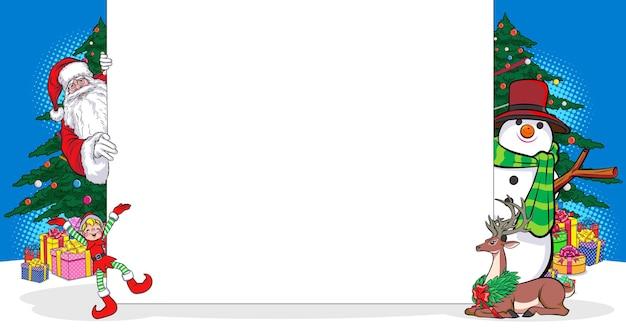 レトロなヴィンテージポップアートコミックスタイルでホワイトボードと雪だるまエルフのトナカイとサンタクロースをのぞく