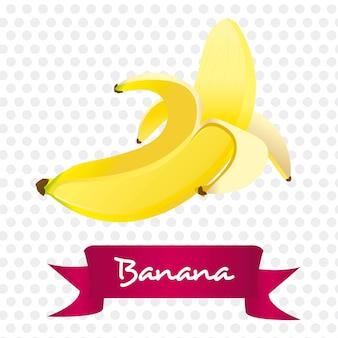 リボンで白い背景に隔離された剥がしたバナナ