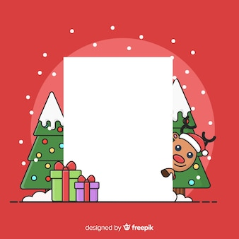 Peeping out reindeer blank sign background