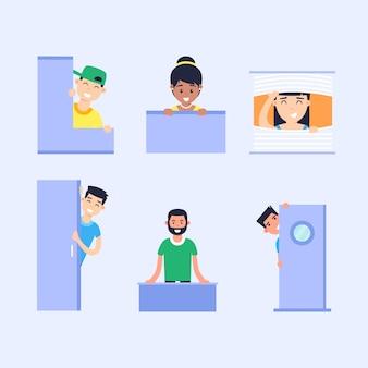 Peeping people illustrated set