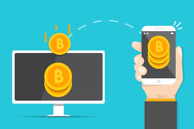 Peer to peer payments. smartphone to pc transfer money.  cryptocurrency transaction. vector illustration.