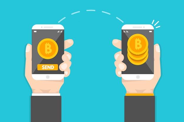 Одноранговые платежи. смартфон перевод денег. криптовалютная транзакция. векторная иллюстрация