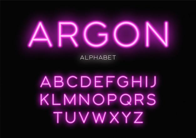 輝くネオンpeface。アルファベット、文字、フォント、