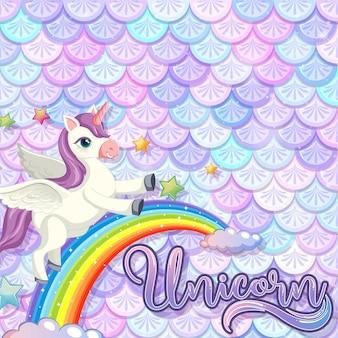Pegasus cartoon character on pastel mermaid scales background