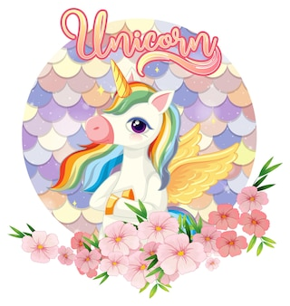 Pegasus cartoon character on pastel scales background isolated