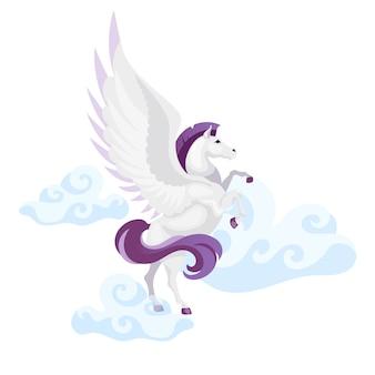 Пегас плоской иллюстрации. мифологическое существо летит в воздухе. фантастический зверь в небе. греческая мифология. символ свободы лошадь с крыльями изолированных мультипликационный персонаж на белом фоне