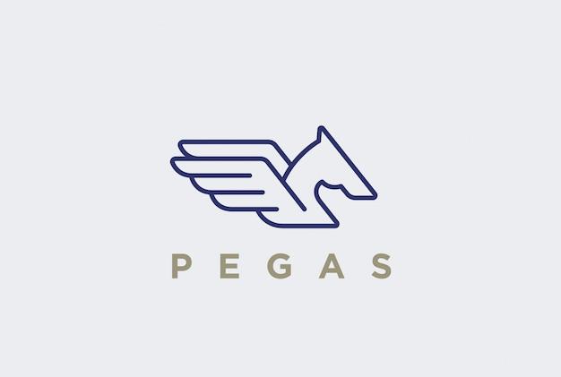 Логотип пегас линейный стиль