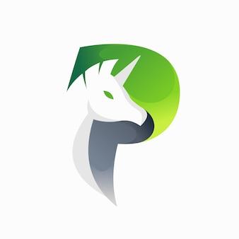문자 p 개념이 있는 페가수스 로고