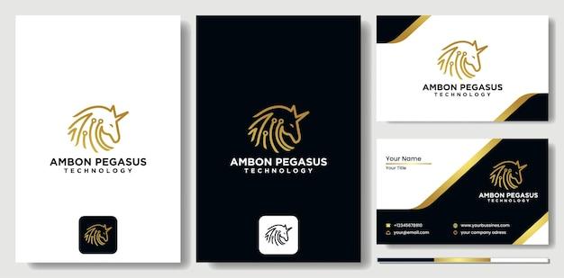 ペガサステクノロジー馬のロゴアイコンデザインテンプレート。エレガント、ラグジュアリー、ハイテクペガサスのロゴ