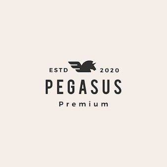 Pegasus unicorn wing hipster vintage logo  icon illustration
