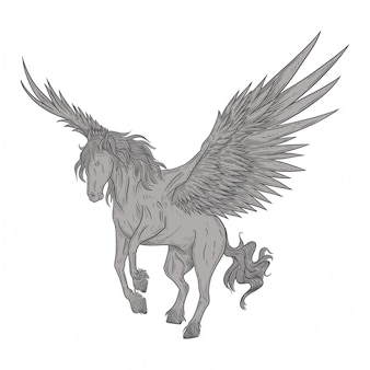 Pegasus in vintage drawing style