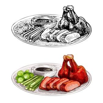 Утка по-пекински с соусом на тарелке. винтаж вектор штриховки рисованной иллюстрации изолированные