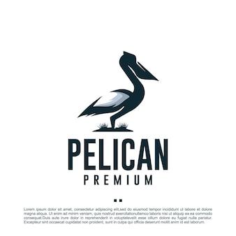 Пеликан птица, шаблон дизайна логотипа