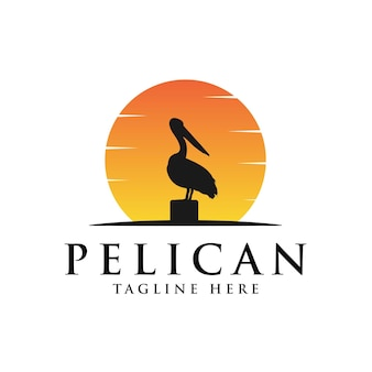 Pelican bird logo vintage with sun background illustration
