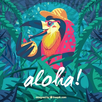 Pelican cocktail aloha background