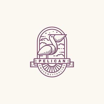 Pelican line art mono illustration vector design template
