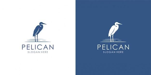 Пеликан дизайн логотипа, монолайн, контур, линия.