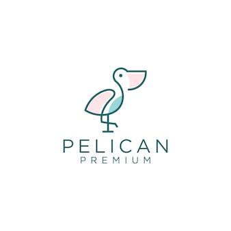 ペリカンのロゴデザインテンプレートラインアートスタイル