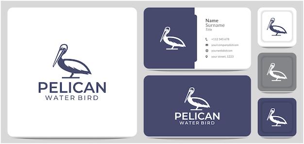Пеликан дизайн логотипа водяная птица большая горловая сумка