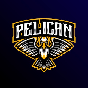 Пеликан талисман логотип киберспорт