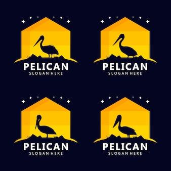 Pelican silhouette logo design vector