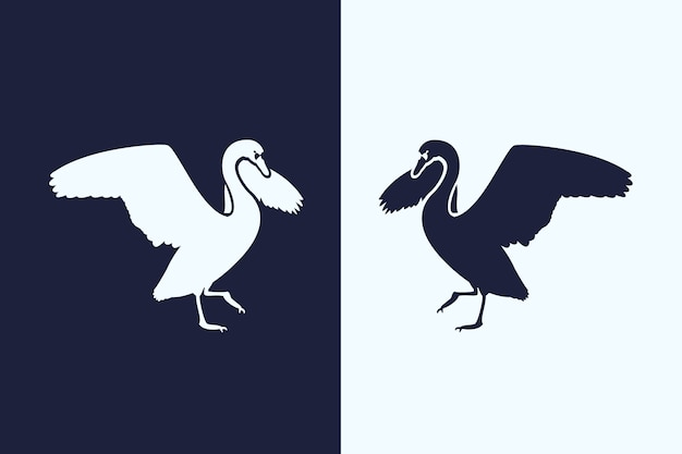 Pelican silhouette in two versions