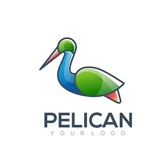 Pelican simple logo color illustration