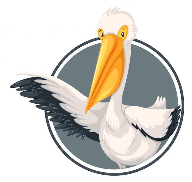 A pelican on sticker template