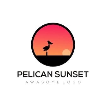 Pelican sunset logo illustration gradient colorful