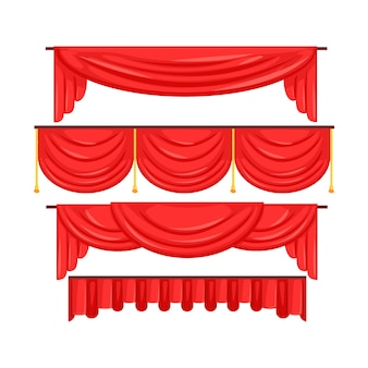Pelmet red curtains set for theatre interior vector illustration