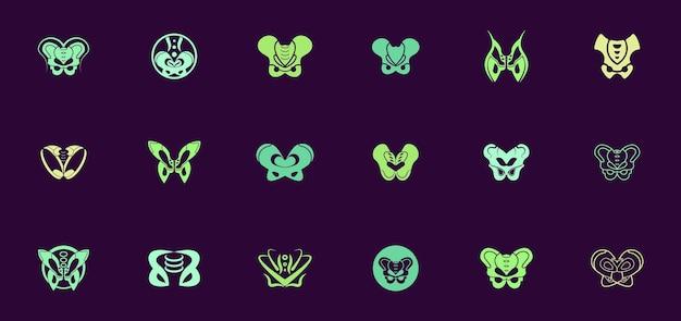 Набор абстрактных логотипов для тазовых органов, шаблоны логотипов для медицинских