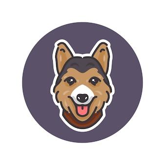 ロゴやマスコットに最適なペンブロークウェルシュコーギー犬のマスコットイラスト