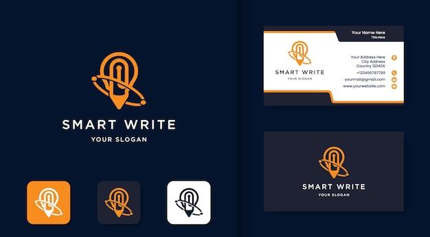 펜과 전구 조합 로고와 명함 디자인