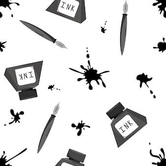 Ручка и чернила в бутылке набор бесшовные модели