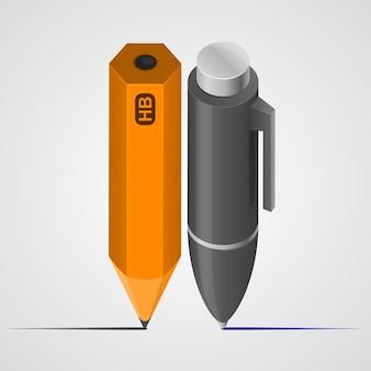 펜과 연필 예술 개체입니다. 벡터 일러스트 레이 션