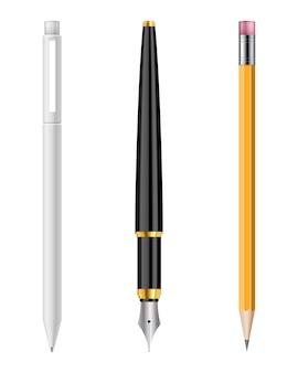 白い背景で隔離のペンと鉛筆セットイラスト