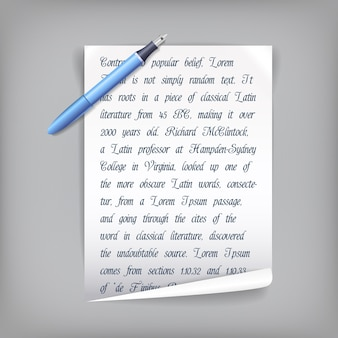 ペンスクリプトテキストとペンと白い紙