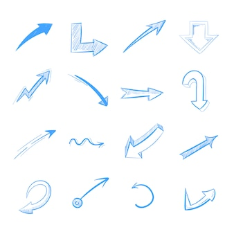 Pen drawing arrows vector set isolated on white