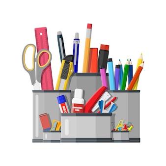 ペンホルダー事務機器。定規、ナイフ、鉛筆、ペン、はさみ。事務用品の文房具と教育。