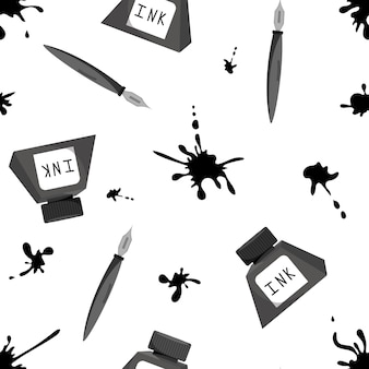 Pen and ink in the bottle set seamless pattern