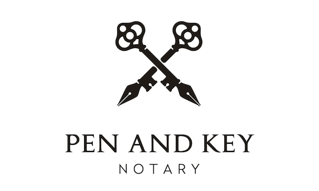 Pen and key cross logo design