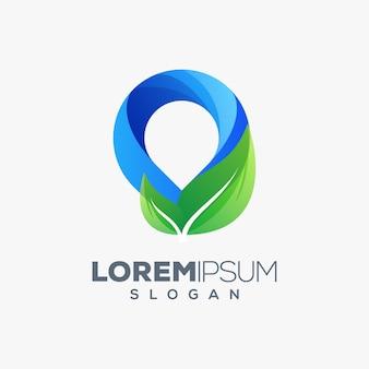 Pen leaf colorful logo design