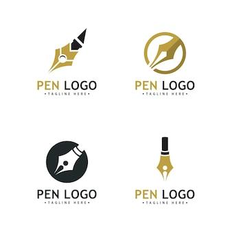 ペンのロゴアイコンテンプレート。会社のライターのアイデンティティ