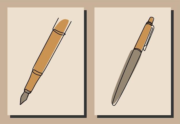 Pen oneline continuous line art premium vector