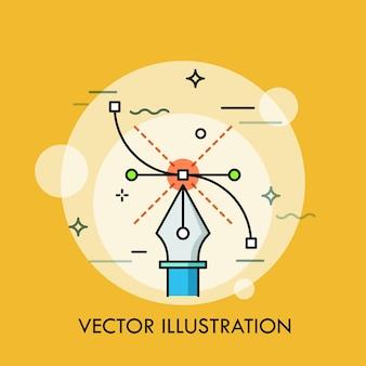 Инструмент «перо» и кривая безье. концепция современного программного обеспечения для создания векторных иллюстраций, техники графического, веб- и цифрового дизайна