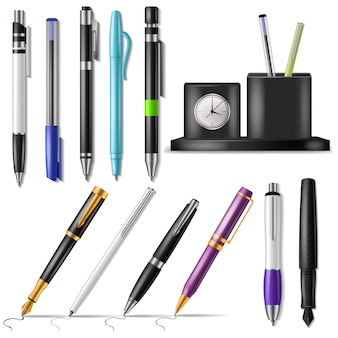 Pen vector office fountainpen or business ballpoint ink and sign of writing tools illustration set