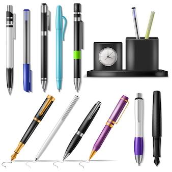 펜 벡터 사무실 만년필 또는 비즈니스 볼펜 잉크 및 쓰기 도구 그림 세트의 표시