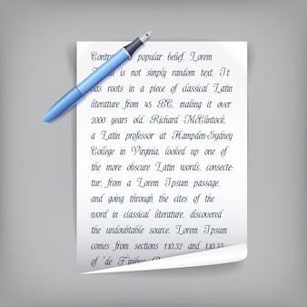 Penna e foglio di carta bianco con testo penscript