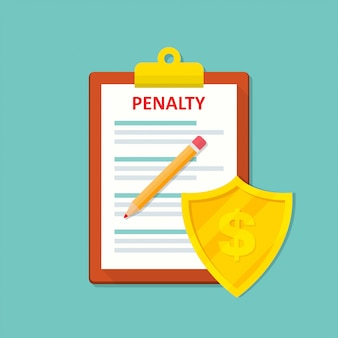 Penalty document icon with shield in a flat .