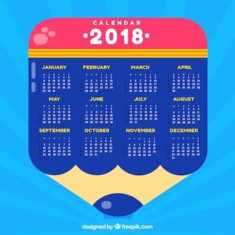 Pencil 2018 calendar template